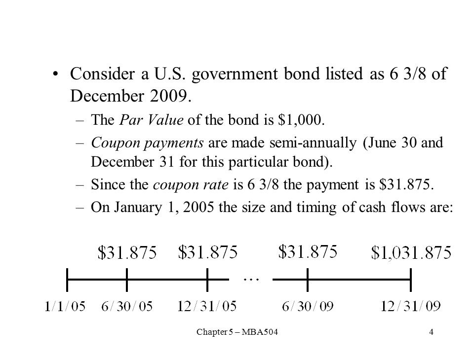 Chapter 5 – MBA5044 Consider a U.S. government bond listed as 6 3/8 of December 2009.