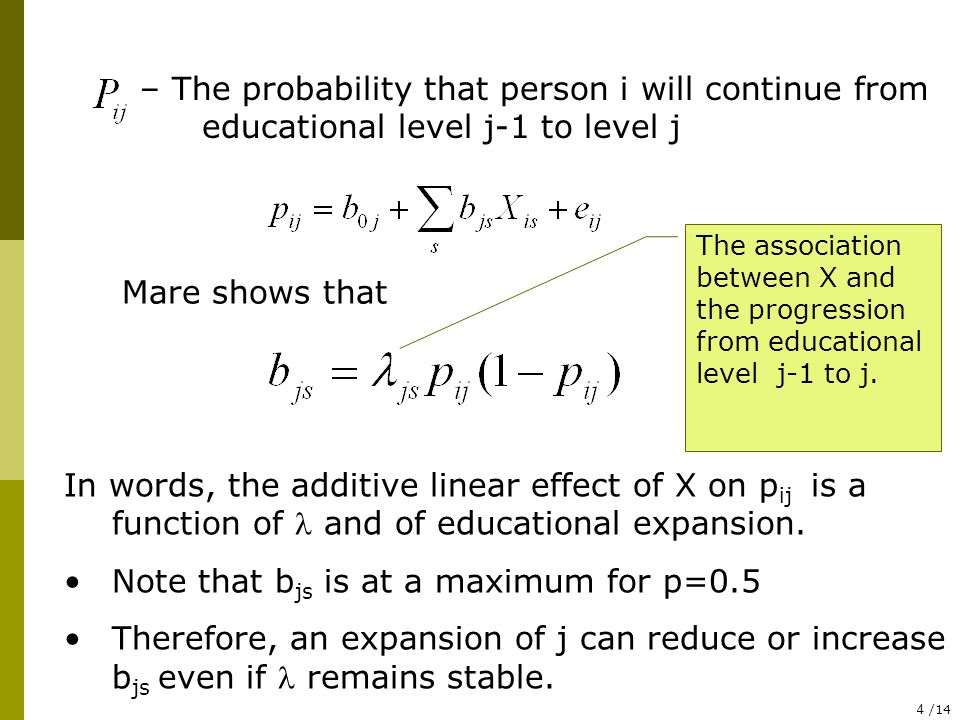 4 /14 – The probability that person i will continue from educational level j-1 to level j Mare shows that The association between X and the progression from educational level j-1 to j.