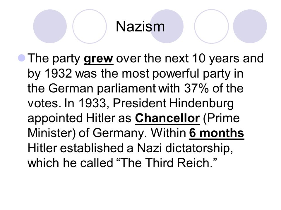 The party grew over the next 10 years and by 1932 was the most powerful party in the German parliament with 37% of the votes. In 1933, President Hinde