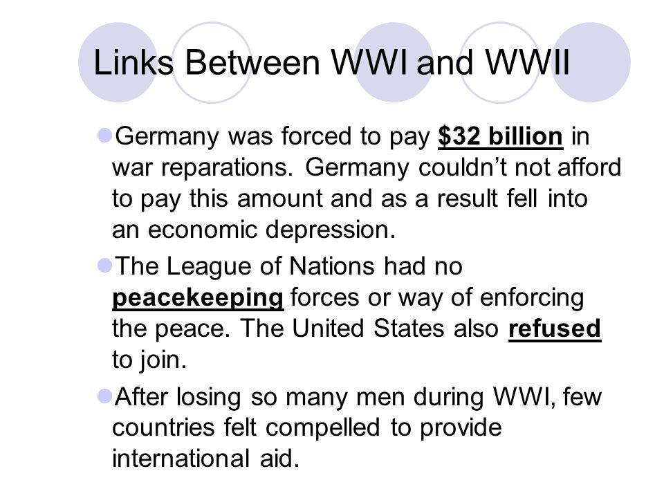 Links Between WWI and WWII Germany was forced to pay $32 billion in war reparations. Germany couldn't not afford to pay this amount and as a result fe