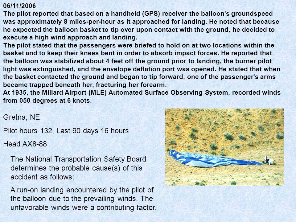 06/11/2006 The pilot reported that based on a handheld (GPS) receiver the balloon s groundspeed was approximately 8 miles-per-hour as it approached for landing.