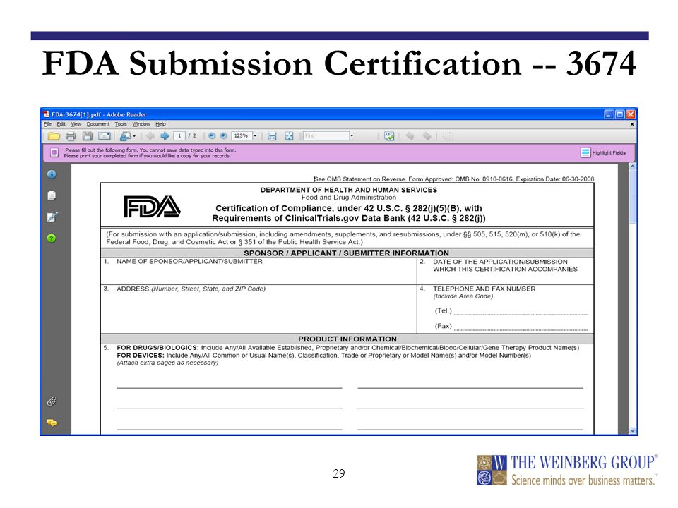 29 FDA Submission Certification -- 3674