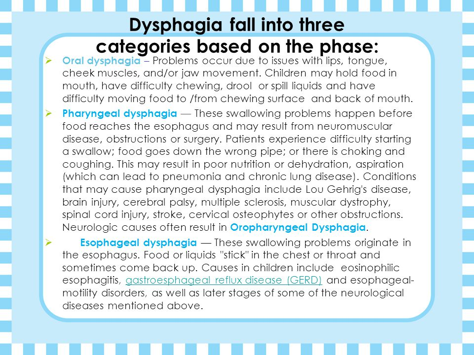 "Feeding and swallowing in infants and children Types Swallowing of problems ""Dysphagia"" (dis'fahjuh)"