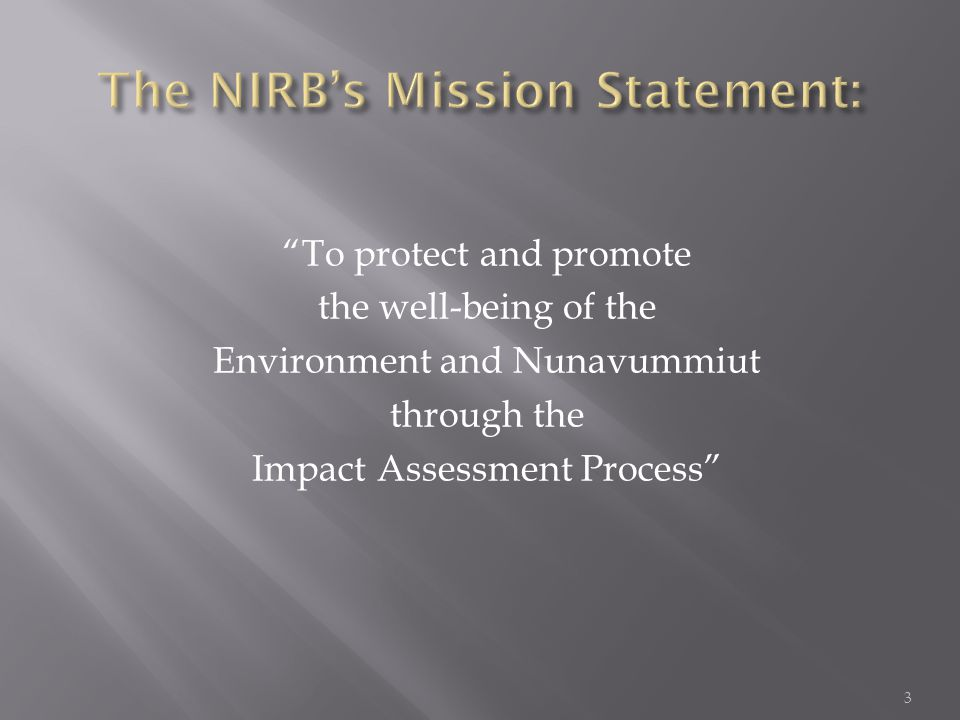 To protect and promote the well-being of the Environment and Nunavummiut through the Impact Assessment Process 3