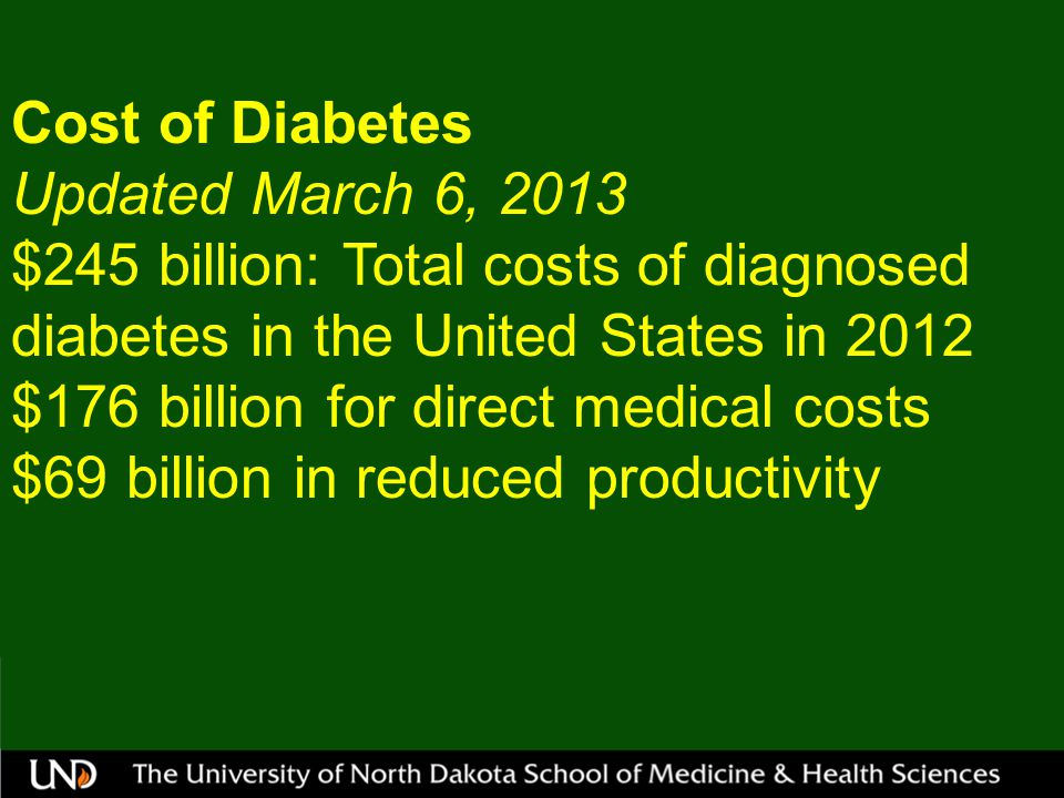 Cost of Diabetes Updated March 6, 2013 $245 billion: Total costs of diagnosed diabetes in the United States in 2012 $176 billion for direct medical costs $69 billion in reduced productivity