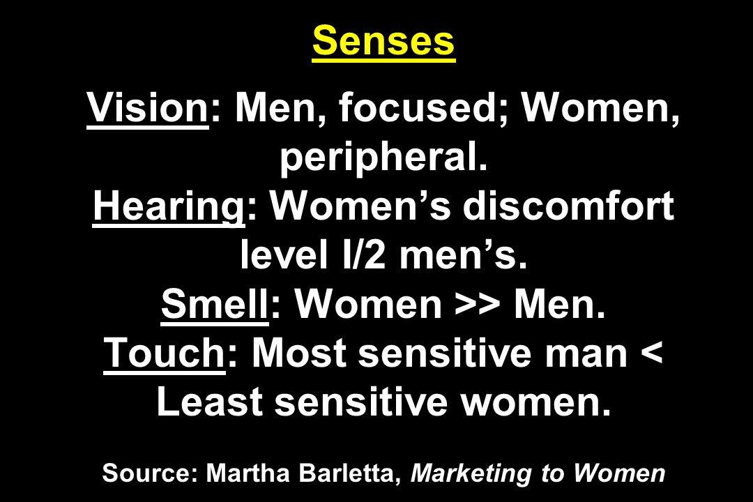 Senses Vision: Men, focused; Women, peripheral.Hearing: Women's discomfort level I/2 men's.