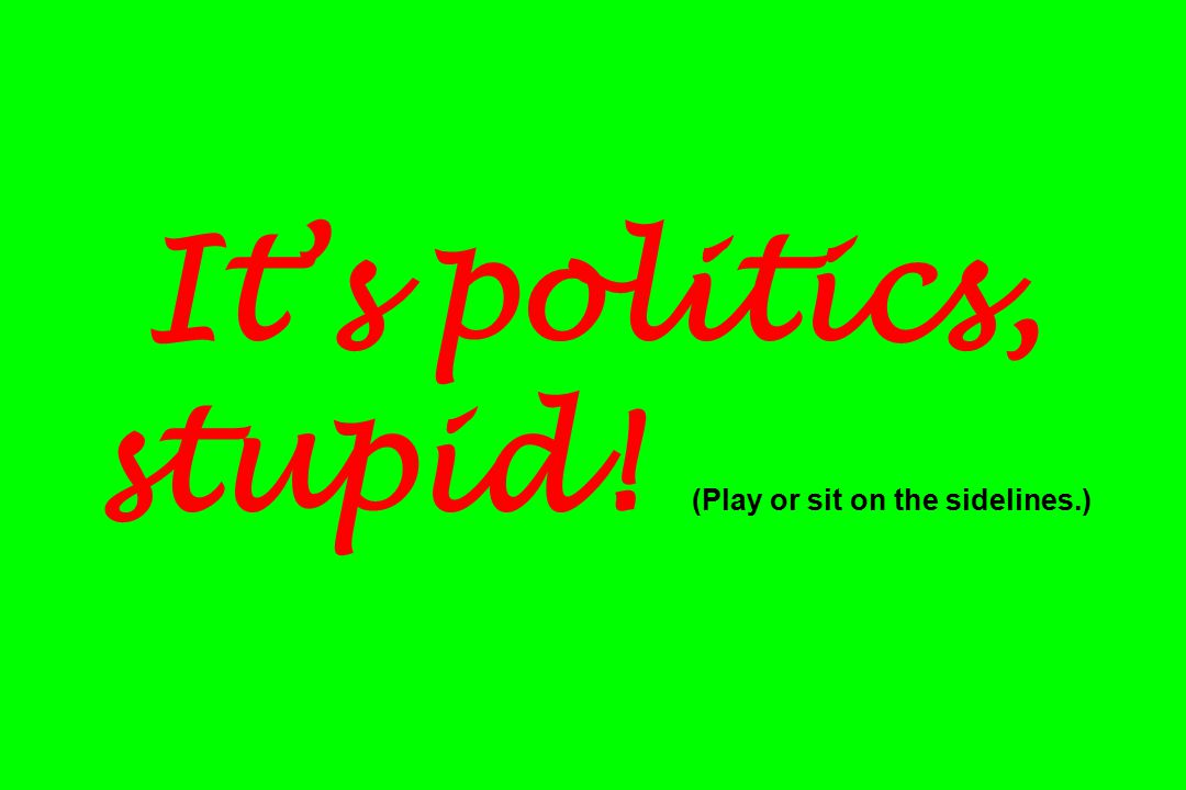 It's politics, stupid! (Play or sit on the sidelines.)