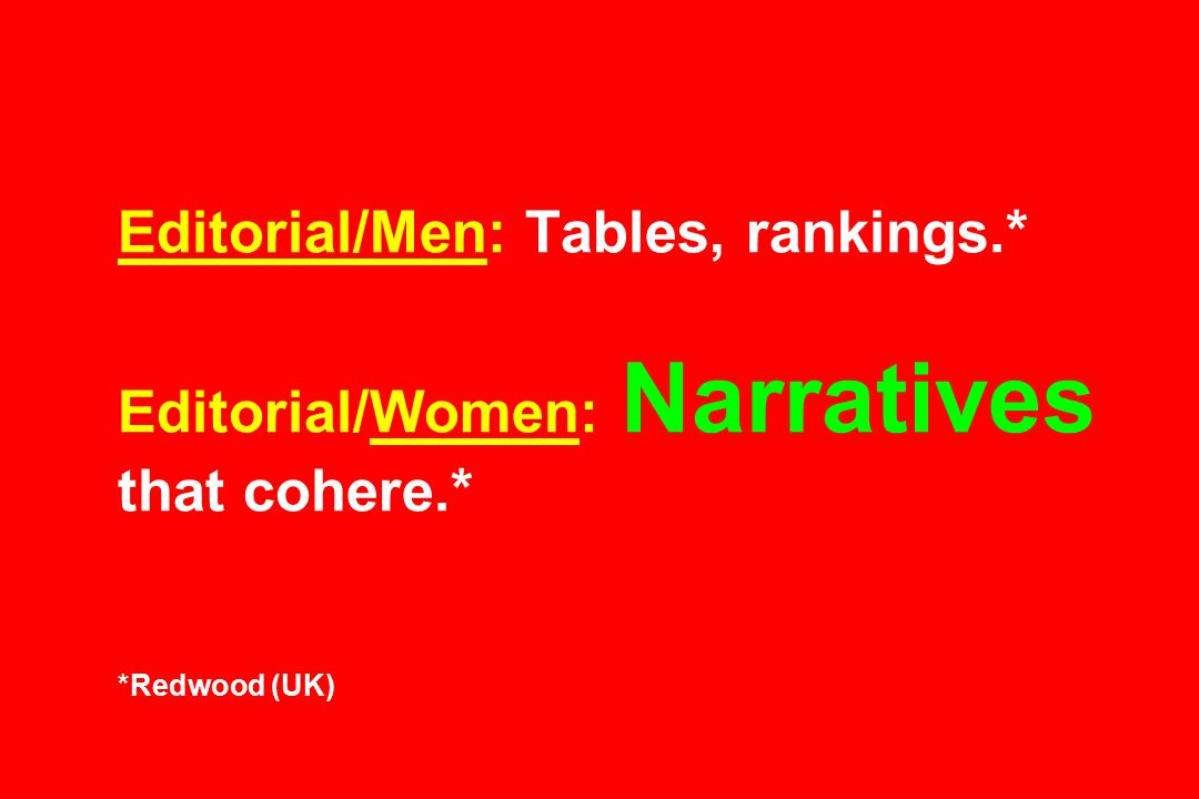 Editorial/Men: Tables, rankings.* Editorial/Women: Narratives that cohere.* *Redwood (UK)
