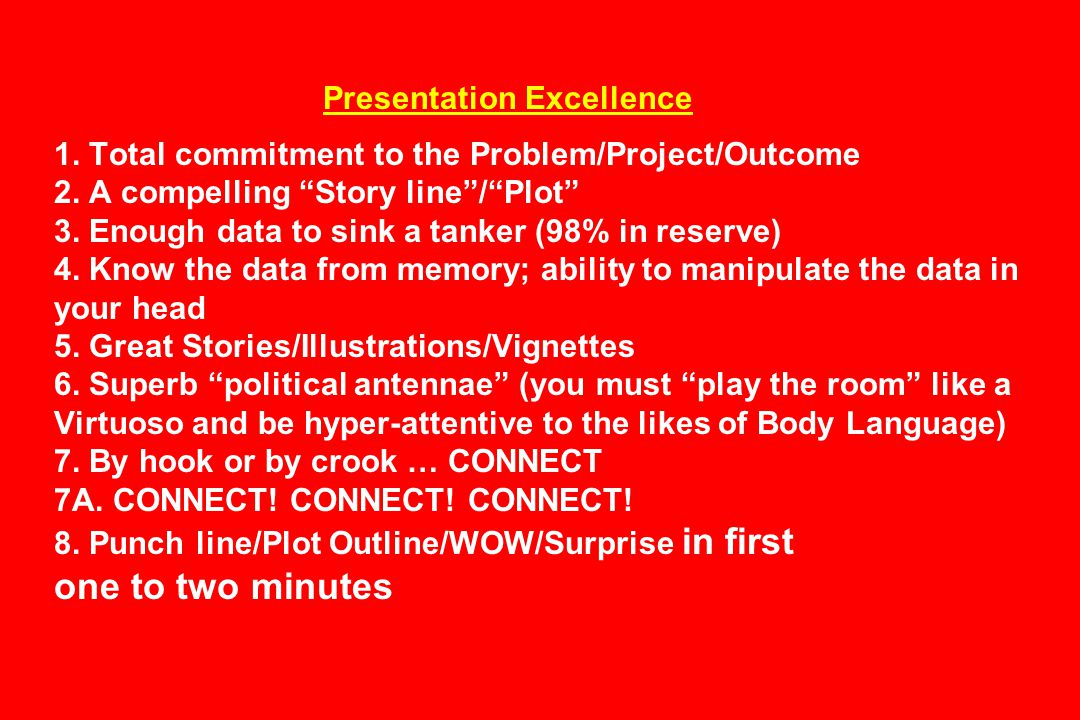 Presentation Excellence 1.Total commitment to the Problem/Project/Outcome 2.