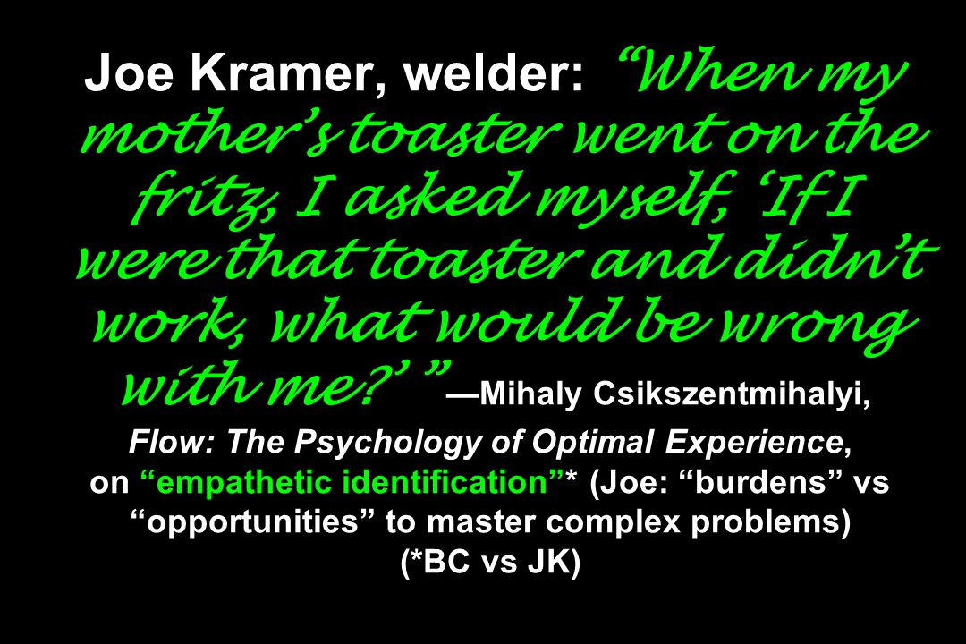 Joe Kramer, welder: When my mother's toaster went on the fritz, I asked myself, 'If I were that toaster and didn't work, what would be wrong with me ' —Mihaly Csikszentmihalyi, Flow: The Psychology of Optimal Experience, on empathetic identification * (Joe: burdens vs opportunities to master complex problems) (*BC vs JK)