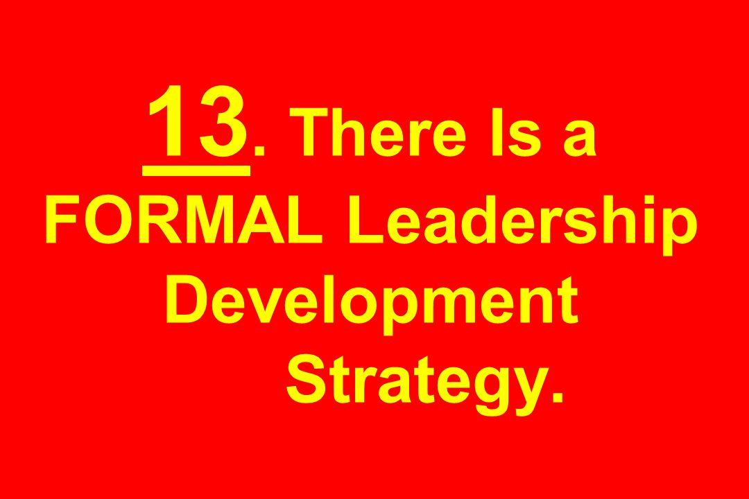 13. There Is a FORMAL Leadership Development Strategy.