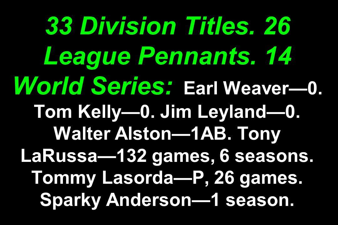 33 Division Titles.26 League Pennants. 14 World Series: Earl Weaver—0.