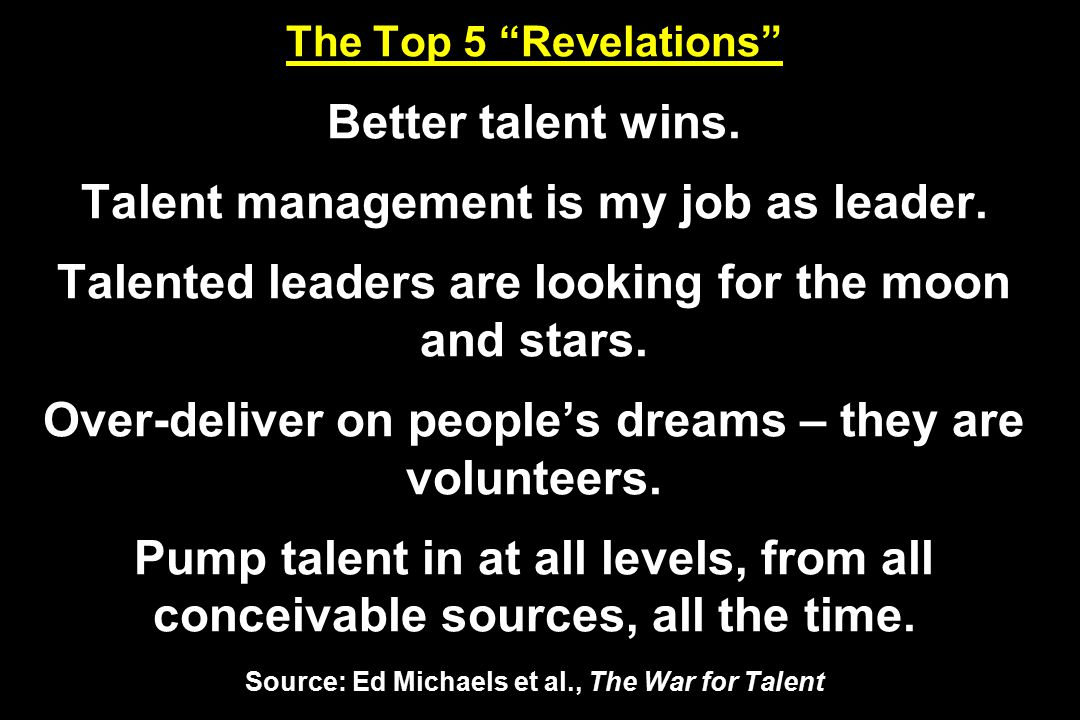 The Top 5 Revelations Better talent wins.Talent management is my job as leader.