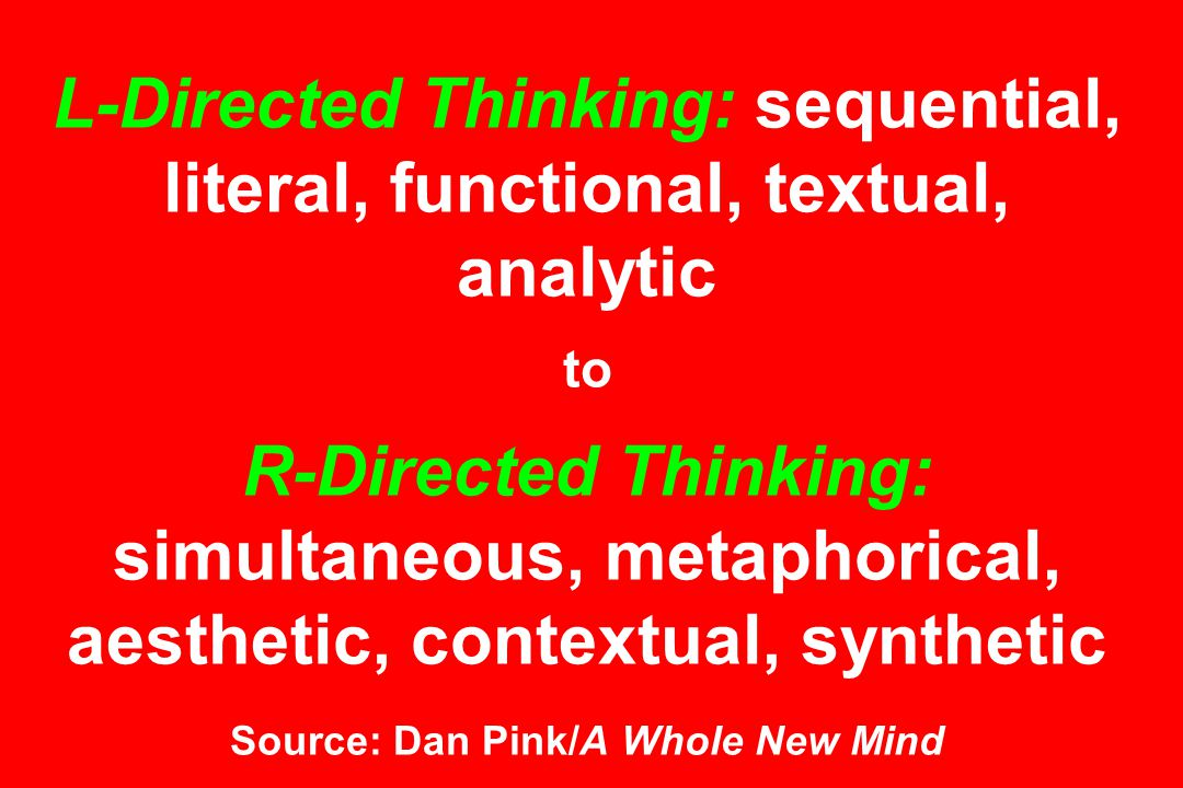 L-Directed Thinking: sequential, literal, functional, textual, analytic to R-Directed Thinking: simultaneous, metaphorical, aesthetic, contextual, synthetic Source: Dan Pink/A Whole New Mind