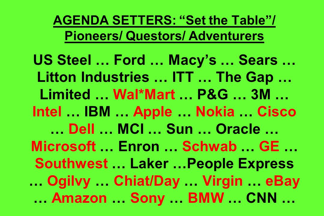 AGENDA SETTERS: Set the Table / Pioneers/ Questors/ Adventurers US Steel … Ford … Macy's … Sears … Litton Industries … ITT … The Gap … Limited … Wal*Mart … P&G … 3M … Intel … IBM … Apple … Nokia … Cisco … Dell … MCI … Sun … Oracle … Microsoft … Enron … Schwab … GE … Southwest … Laker …People Express … Ogilvy … Chiat/Day … Virgin … eBay … Amazon … Sony … BMW … CNN …