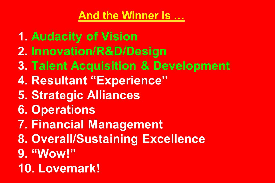 And the Winner is … 1. Audacity of Vision 2. Innovation/R&D/Design 3.