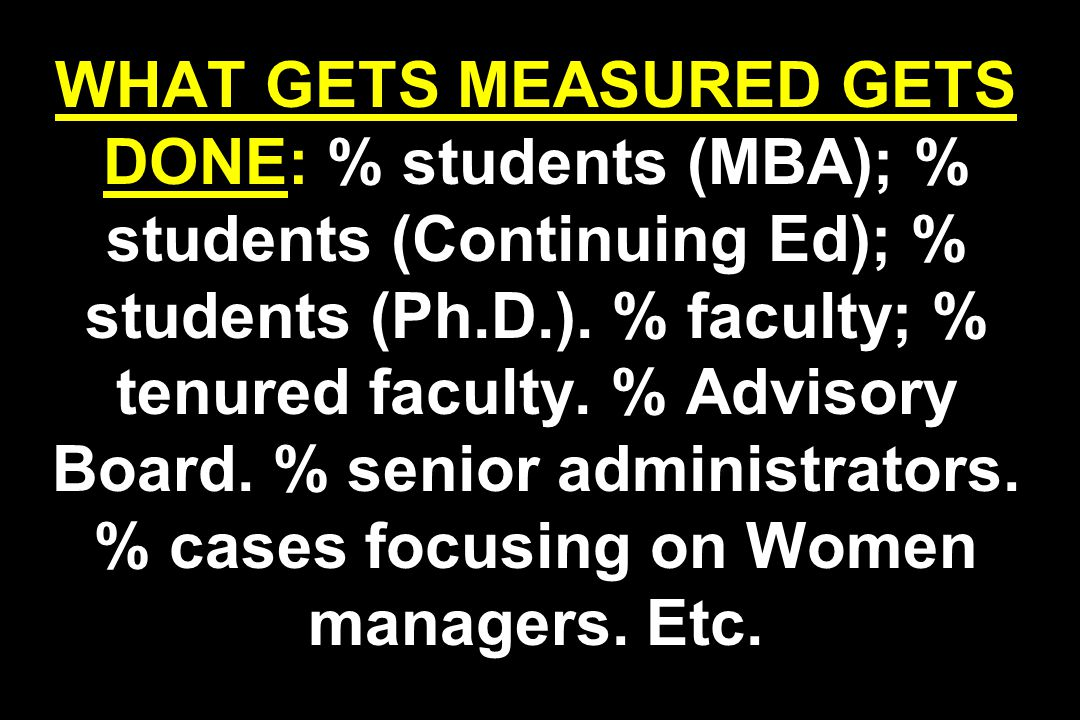 WHAT GETS MEASURED GETS DONE: % students (MBA); % students (Continuing Ed); % students (Ph.D.).