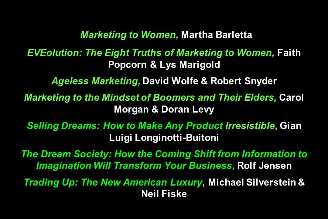 Marketing to Women, Martha Barletta EVEolution: The Eight Truths of Marketing to Women, Faith Popcorn & Lys Marigold Ageless Marketing, David Wolfe & Robert Snyder Marketing to the Mindset of Boomers and Their Elders, Carol Morgan & Doran Levy Selling Dreams: How to Make Any Product Irresistible, Gian Luigi Longinotti-Buitoni The Dream Society: How the Coming Shift from Information to Imagination Will Transform Your Business, Rolf Jensen Trading Up: The New American Luxury, Michael Silverstein & Neil Fiske
