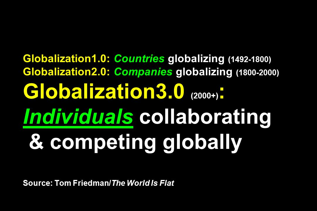Globalization1.0: Countries globalizing (1492-1800) Globalization2.0: Companies globalizing (1800-2000) Globalization3.0 (2000+) : Individuals collaborating & competing globally Source: Tom Friedman/The World Is Flat