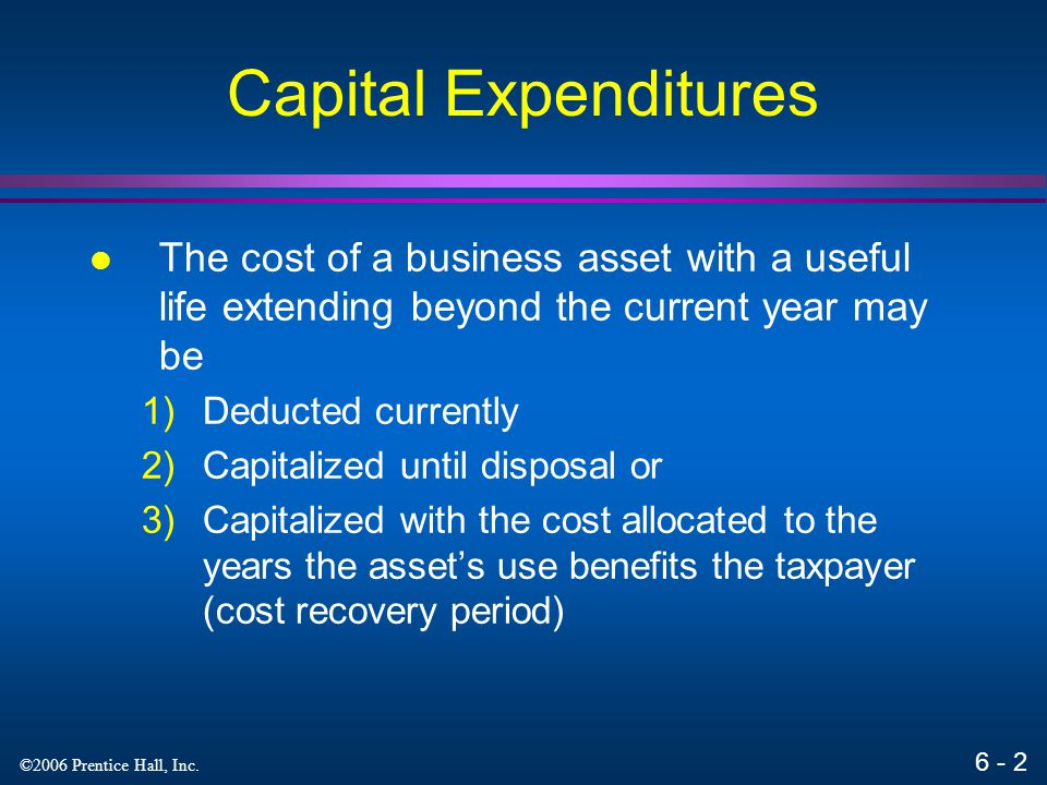 6 - 1 ©2006 Prentice Hall, Inc. Property Acquisitions and Cost Recovery Deductions Chapter 6