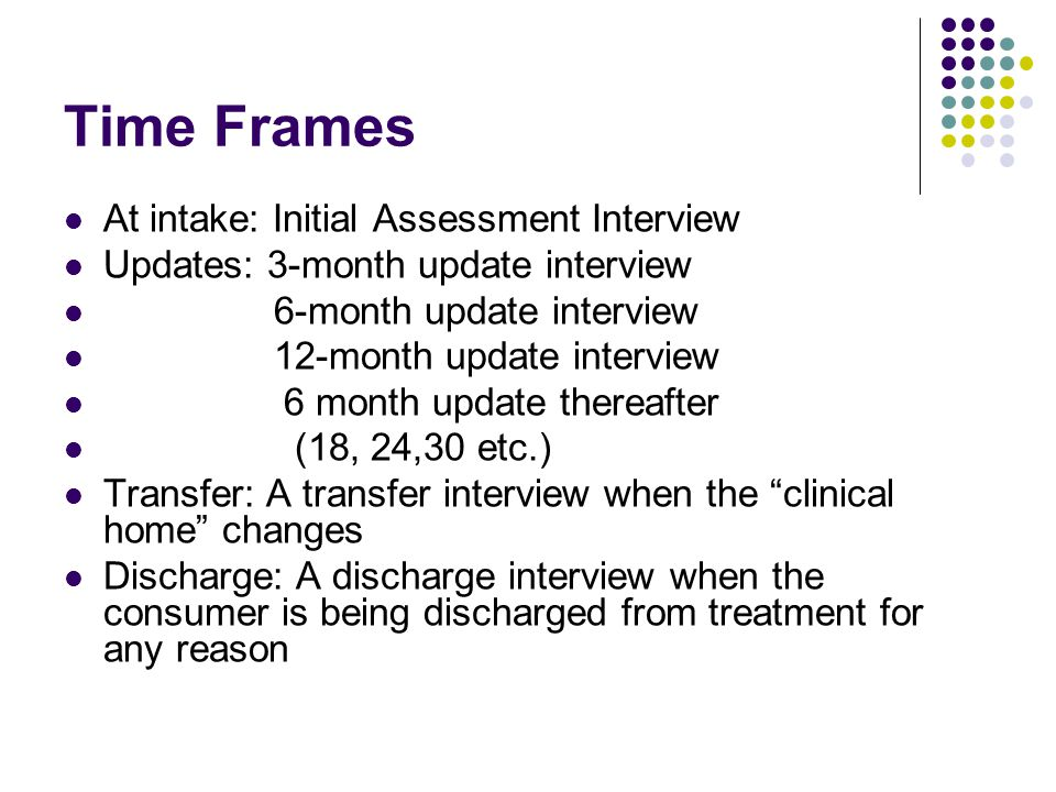 Time Frames At intake: Initial Assessment Interview Updates: 3-month update interview 6-month update interview 12-month update interview 6 month update thereafter (18, 24,30 etc.) Transfer: A transfer interview when the clinical home changes Discharge: A discharge interview when the consumer is being discharged from treatment for any reason