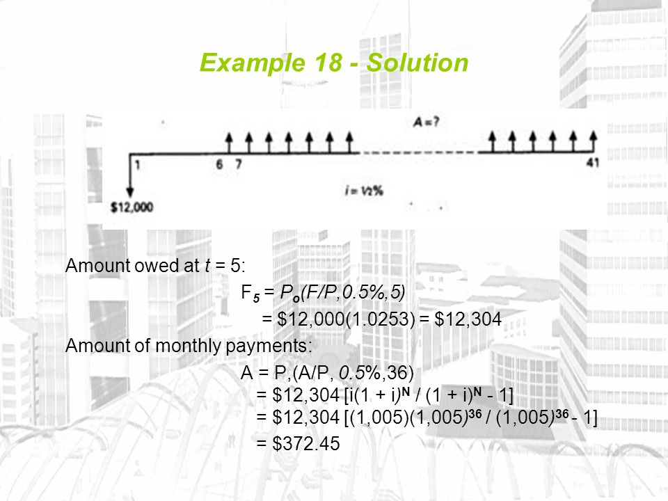 Example 18 - Solution Amount owed at t = 5: F 5 = P o (F/P,0.5%,5) = $12,000(1.0253) = $12,304 Amount of monthly payments: A = P,(A/P, 0.5%,36) = $12,304 [i(1 + i) N / (1 + i) N - 1] = $12,304 [(1,005)(1,005) 36 / (1,005) 36 - 1] = $372.45