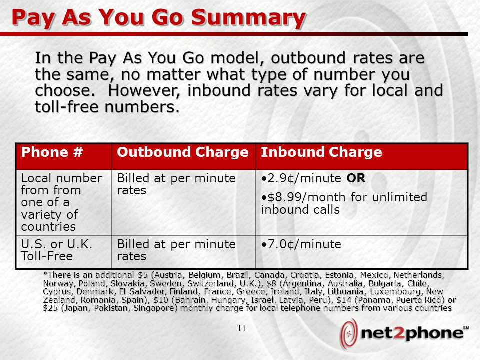 11 Pay As You Go Summary Phone #Outbound ChargeInbound Charge Local number from from one of a variety of countries Billed at per minute rates 2.9¢/minute OR $8.99/month for unlimited inbound calls U.S.