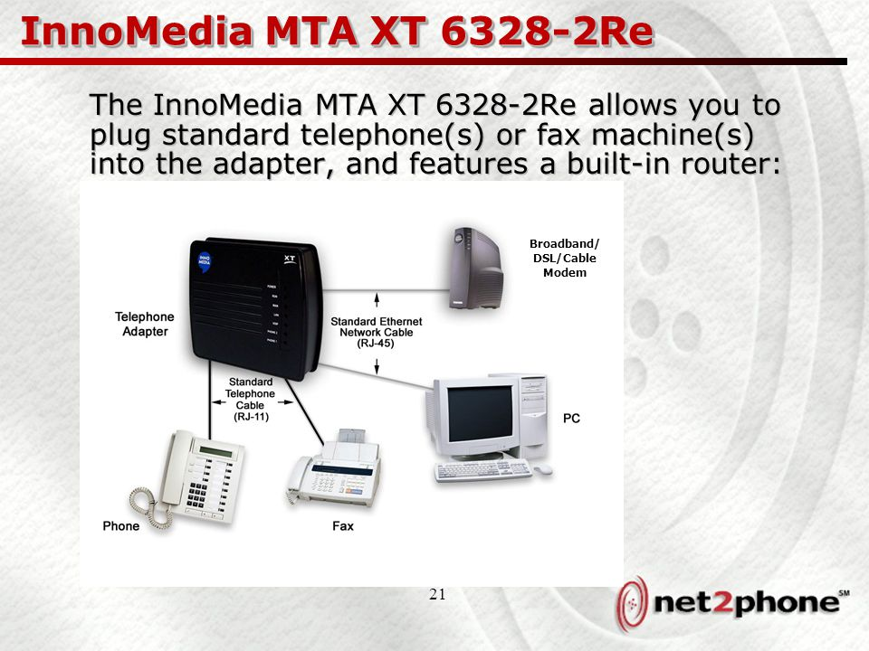 21 InnoMedia MTA XT 6328-2Re The InnoMedia MTA XT 6328-2Re allows you to plug standard telephone(s) or fax machine(s) into the adapter, and features a