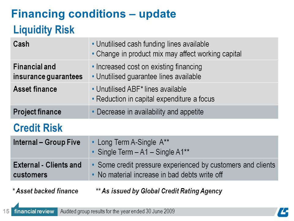 15 Financing conditions – update Liquidity Risk Cash Unutilised cash funding lines available Change in product mix may affect working capital Financial and insurance guarantees Increased cost on existing financing Unutilised guarantee lines available Asset finance Unutilised ABF* lines available Reduction in capital expenditure a focus Project finance Decrease in availability and appetite Credit Risk Internal – Group Five Long Term A-Single A** Single Term – A1 – Single A1** External - Clients and customers Some credit pressure experienced by customers and clients No material increase in bad debts write off * Asset backed finance** As issued by Global Credit Rating Agency financial review Audited group results for the year ended 30 June 2009
