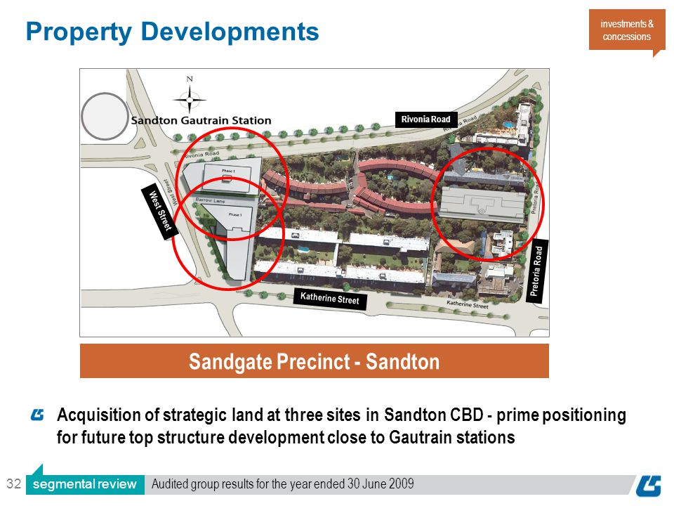 32 Property Developments investments & concessions Sandgate Precinct - Sandton Acquisition of strategic land at three sites in Sandton CBD - prime positioning for future top structure development close to Gautrain stations segmental review Audited group results for the year ended 30 June 2009 Katherine Street Rivonia Road West Street Pretoria Road