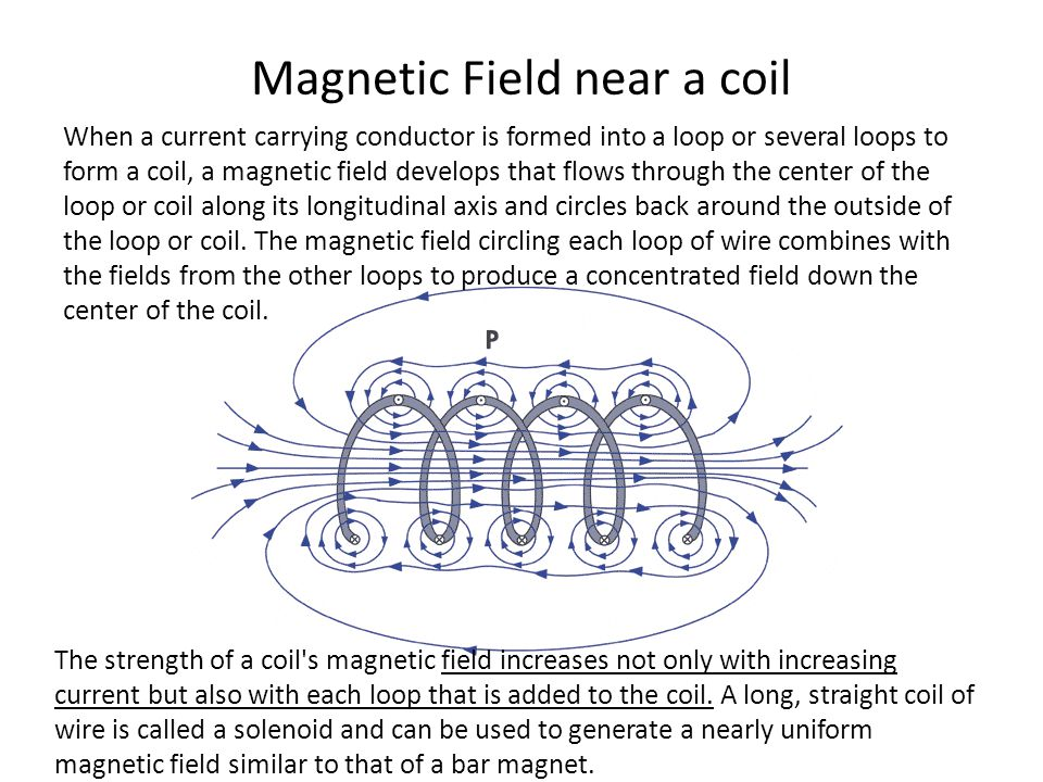 Magnetic Field near a coil When a current carrying conductor is formed into a loop or several loops to form a coil, a magnetic field develops that flo