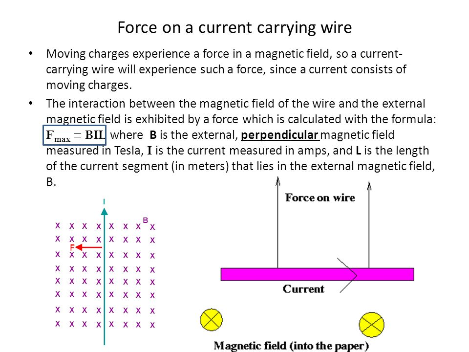 Force on a current carrying wire Moving charges experience a force in a magnetic field, so a current- carrying wire will experience such a force, sinc