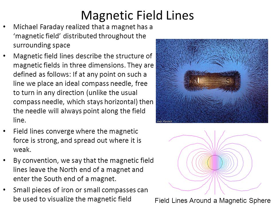 Magnetic Field Lines Michael Faraday realized that a magnet has a 'magnetic field' distributed throughout the surrounding space Magnetic field lines d
