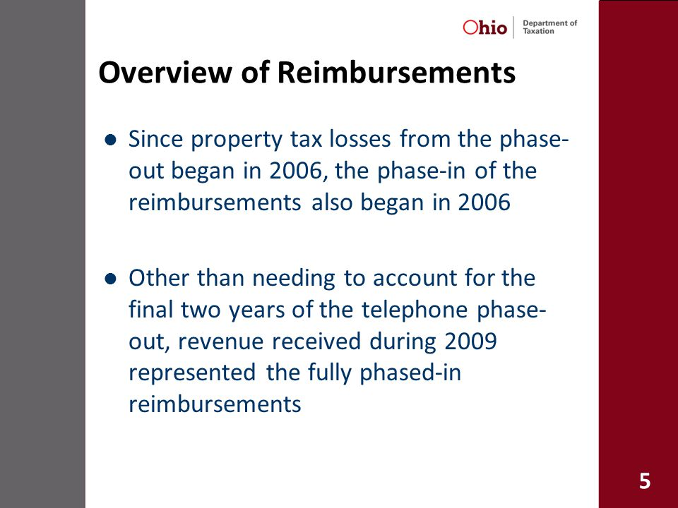 5 Overview of Reimbursements Since property tax losses from the phase- out began in 2006, the phase-in of the reimbursements also began in 2006 Other than needing to account for the final two years of the telephone phase- out, revenue received during 2009 represented the fully phased-in reimbursements