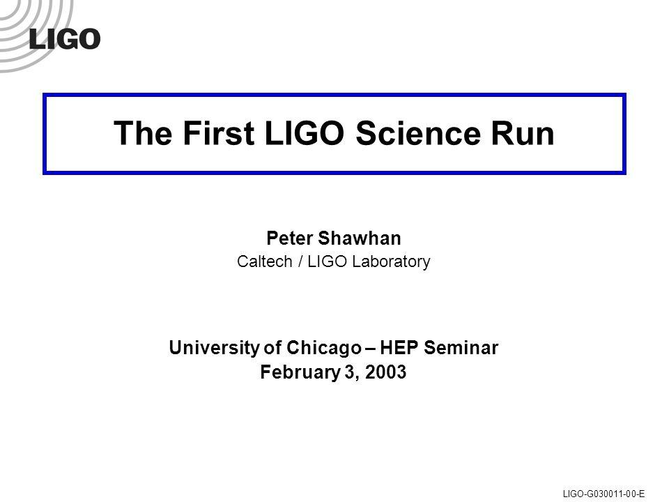 U of C HEP Seminar, 3 Feb 2003 Peter Shawhan (Caltech/LIGO)LIGO-G030011-00-E A Mirror in situ
