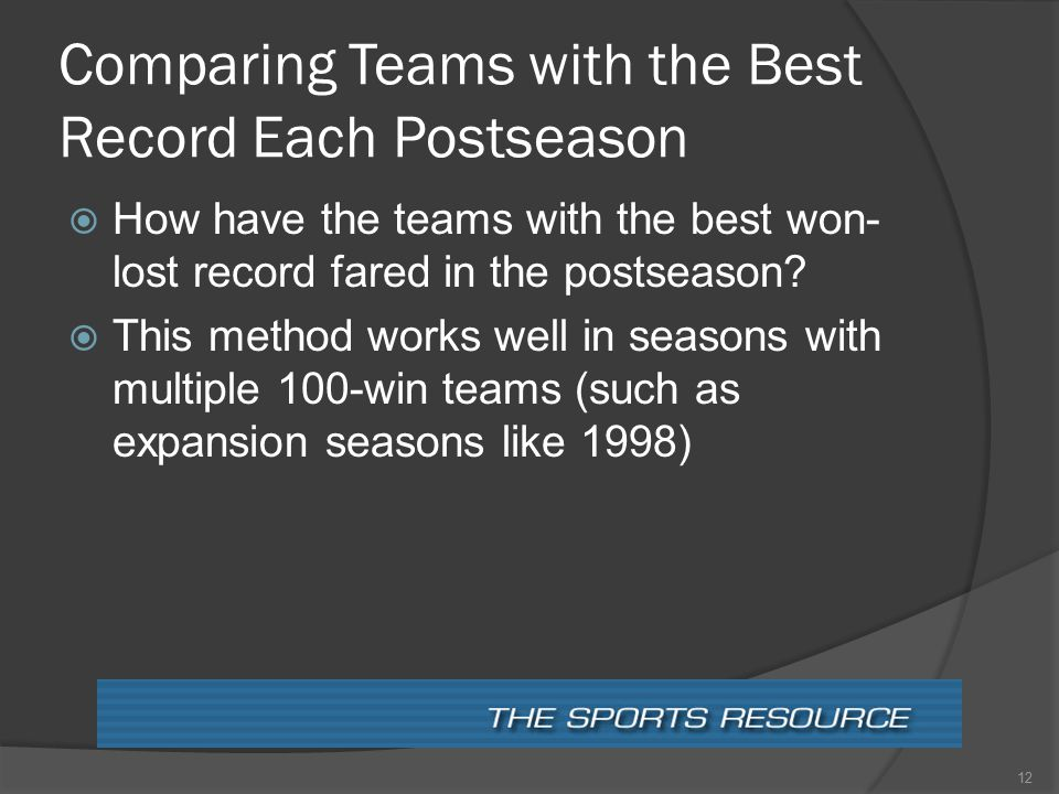 Comparing Teams with the Best Record Each Postseason  How have the teams with the best won- lost record fared in the postseason.
