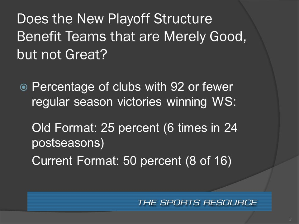Does the New Playoff Structure Benefit Teams that are Merely Good, but not Great.