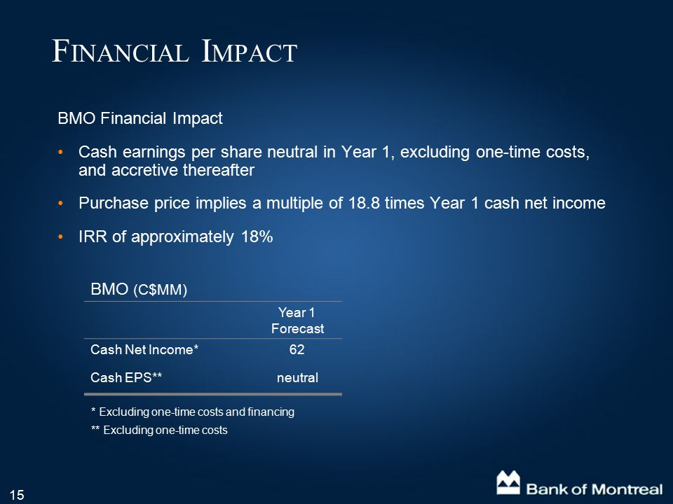 15 BMO Financial Impact Cash earnings per share neutral in Year 1, excluding one-time costs, and accretive thereafter Purchase price implies a multipl