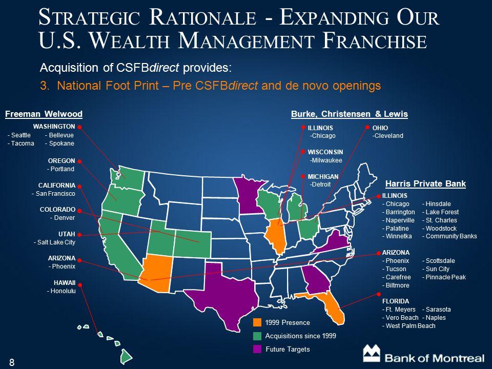 8 Acquisition of CSFBdirect provides: 3. National Foot Print – Pre CSFBdirect and de novo openings S TRATEGIC R ATIONALE - E XPANDING O UR U.S. W EALT