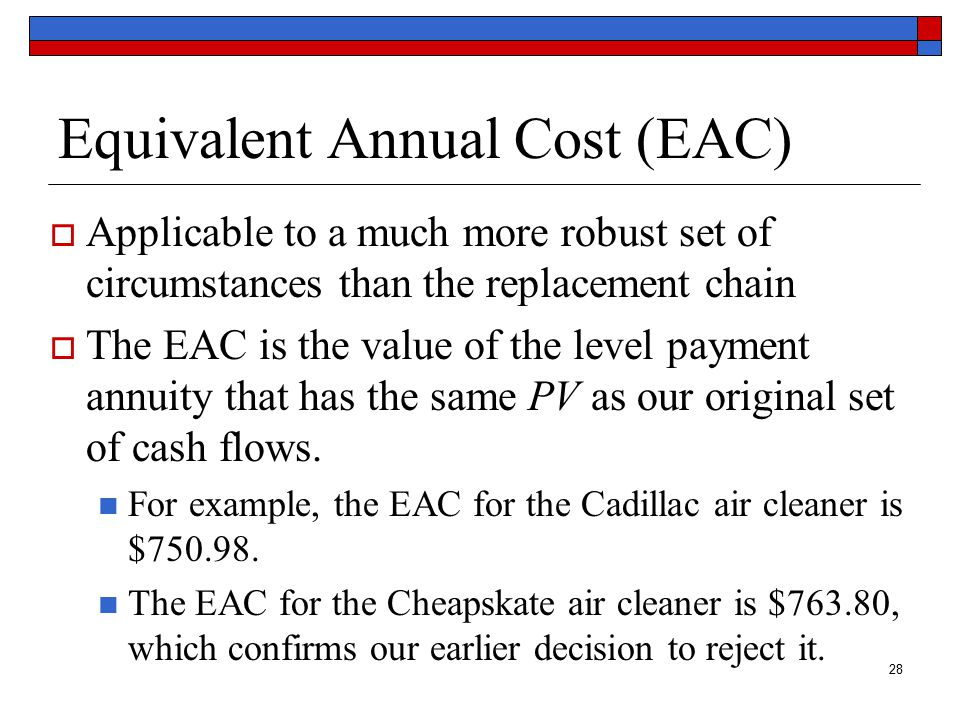 29 Cadillac EAC with a Calculator 10 –100 –4,614.46 –4,000 CF1 F1 CF0 I NPV 10 750.98 10 –4,614.46 10 PMT I/Y FV PV N