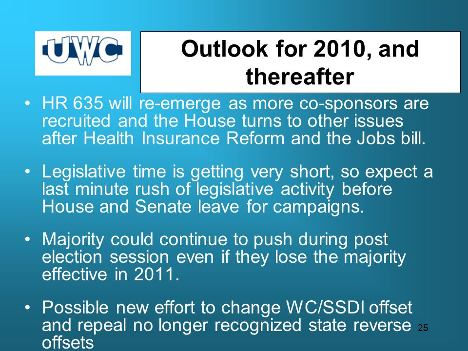 Outlook for 2010, and thereafter HR 635 will re-emerge as more co-sponsors are recruited and the House turns to other issues after Health Insurance Reform and the Jobs bill.