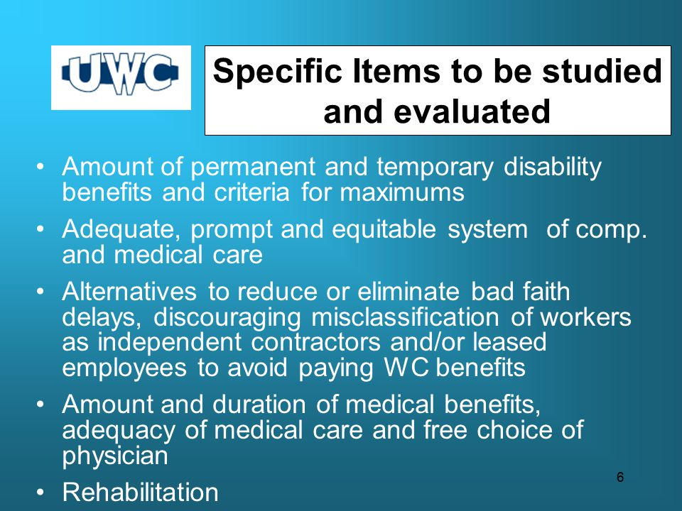 Amount of permanent and temporary disability benefits and criteria for maximums Adequate, prompt and equitable system of comp.