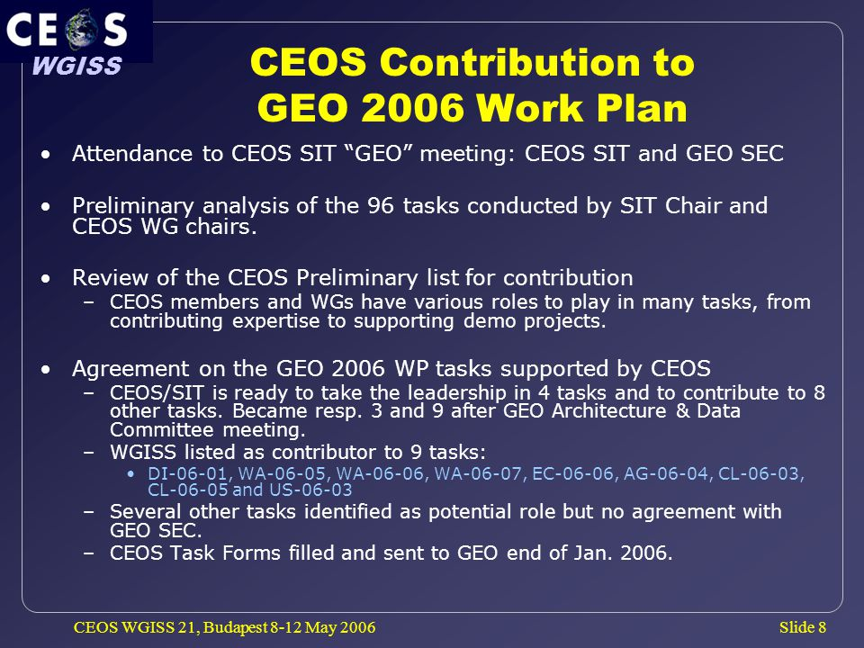 Slide 8 WGISS CEOS WGISS 21, Budapest 8-12 May 2006 CEOS Contribution to GEO 2006 Work Plan Attendance to CEOS SIT GEO meeting: CEOS SIT and GEO SEC Preliminary analysis of the 96 tasks conducted by SIT Chair and CEOS WG chairs.