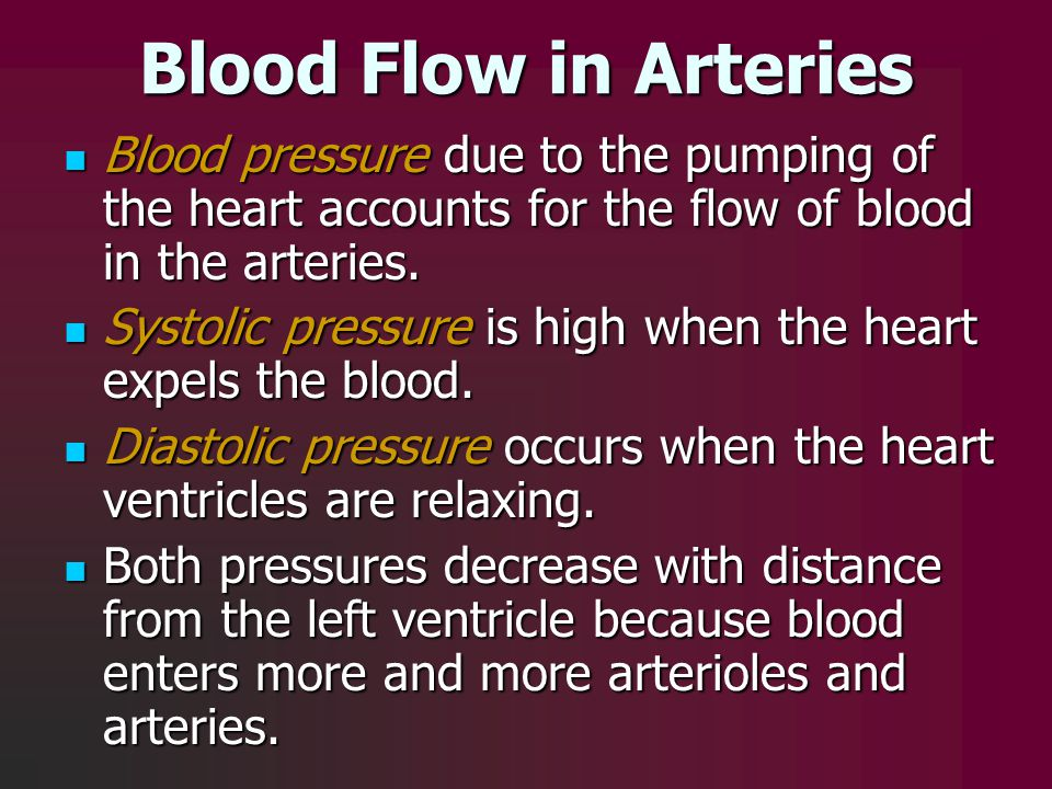 Blood Flow in Arteries Blood pressure due to the pumping of the heart accounts for the flow of blood in the arteries. Blood pressure due to the pumpin