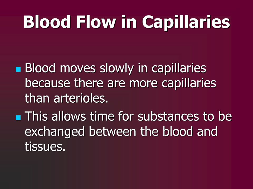 Blood Flow in Capillaries Blood moves slowly in capillaries because there are more capillaries than arterioles. Blood moves slowly in capillaries beca