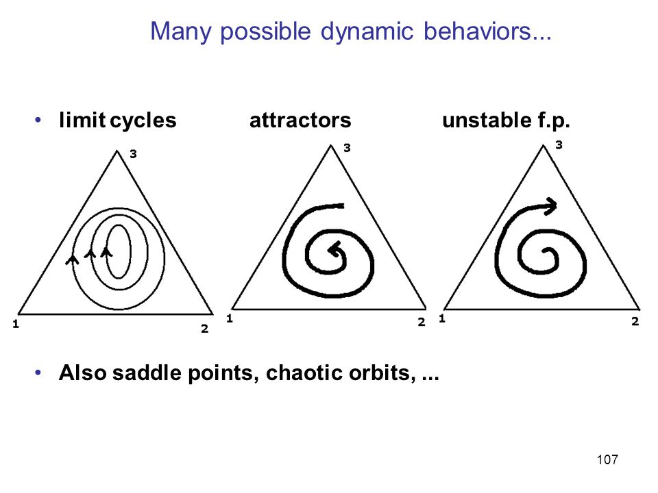 107 Many possible dynamic behaviors... limit cycles attractors unstable f.p.