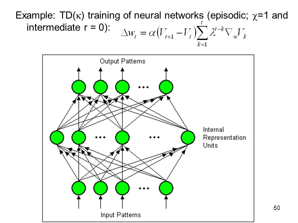 50 Example: TD(  ) training of neural networks (episodic;  =1 and intermediate r = 0):