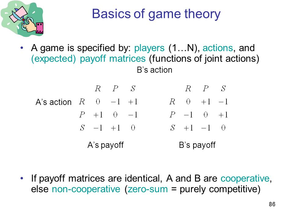 86 Basics of game theory A game is specified by: players (1…N), actions, and (expected) payoff matrices (functions of joint actions) B's action A's action A's payoff B's payoff If payoff matrices are identical, A and B are cooperative, else non-cooperative (zero-sum = purely competitive)