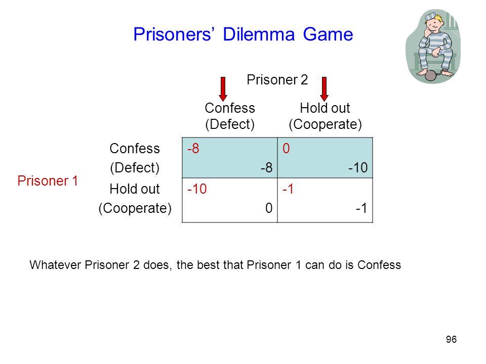 96 Prisoners' Dilemma Game Prisoner 2 Confess (Defect) Hold out (Cooperate) Prisoner 1 Confess (Defect) -8 0 -10 Hold out (Cooperate) -10 0 Whatever Prisoner 2 does, the best that Prisoner 1 can do is Confess