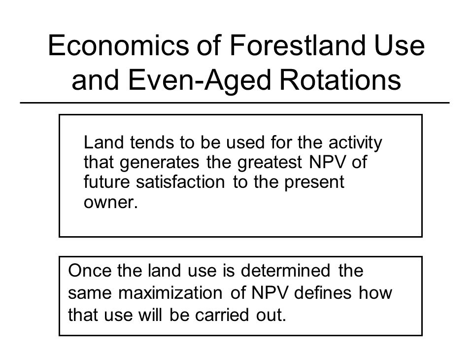 Economics of Forestland Use and Even-Aged Rotations Land tends to be used for the activity that generates the greatest NPV of future satisfaction to t